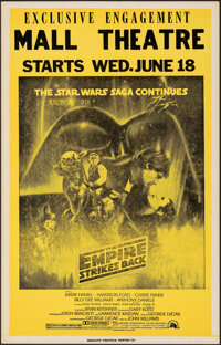 """The Empire Strikes Back (20th Century Fox, 1980). Fine/Very Fine. Exclusive Engagement Mall Theater Window Card (14""""..."""