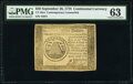 Colonial Notes:Continental Congress Issues, Continental Currency September 26, 1778 $50 Contemporary Counterfeit PMG Choice Uncirculated 63.. ...