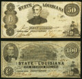 Obsoletes By State:Louisiana, Shreveport, LA- State of Louisiana $50; $100 Mar. 10, 1863 Cr. 12; Cr. 11 Fine-Very Fine; Crisp Uncirculated.. ... (Total: 2 notes)