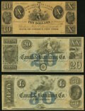 Obsoletes By State:Louisiana, New Orleans, LA- New Orleans Canal & Banking Co. $10; $20; $50 18__ Remainders Crisp Uncirculated.. ... (Total: 3 notes)