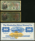 Obsoletes By State:Nevada, Austin, NV- Manhattan Silver Mining Co. $10 187_ Remainder About Uncirculated;. MPC Series 481 5¢; 10¢ Fine; Very Good... (Total: 3 notes)