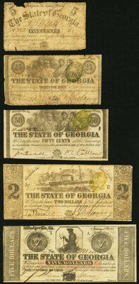 Milledgeville, GA- State of Georgia 5¢; 25¢; 50¢; $2; $5 1862-64 Very Good or Better. ... (Total: 5 notes...