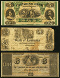New Orleans, LA- Citizens' Bank of Louisiana $5; $100 Oct. 9, 1860; 18__ Remainders Crisp Uncirculated; New Orleans...