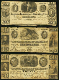 Augusta, GA- Augusta Insurance and Banking Co. $1; $10; $20 1843-62 Very Good-Fine. ... (Total: 3 notes)
