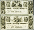 Obsoletes By State:Virginia, Winchester, VA- Bank of the Valley in Virginia $1; $2 18__ Remainders Crisp Uncirculated.. ... (Total: 2...