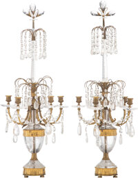 A Pair of Continental Crystal Gilt Metal Candelabra, 19th century 39-1/2 x 14-1/2 x 14-1/2 inches (100.3 x 36.8 x 36.8 c...