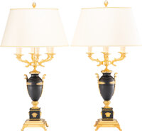 A Pair of Versace Gilt and Patinated Bronze Mounted Lamps, 20th century 42 x 23 x 23 inches (106.7 x 58.4 x 58.4 cm) (ea...