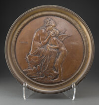 After Louis-Oscar Roty (French, 1846-1911) Aphrodite & Cupid Footed Tray, late 19th century Patinated bronze 5-3/4 x...