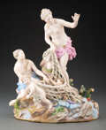 Ceramics & Porcelain, A Meissen Porcelain Figural Group: The Capture of the Tritons After J.J. Kändler, late 19th-early 20th century. ...