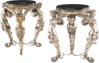 A Pair of French Silvered Bronze and Marble Gueridons 32-1/4 x 25-1/2 inches (81.9 x 64.8 cm) (each)  Property from the...