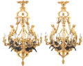 Lighting, A Pair of Louis XV-Style Gilt and Patinated Bronze Nine-Light Figural Chandeliers. Bearing the signature of F. Linke. 37... (Total: 2 Items)