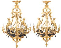 A Pair of François Linke Gilt and Patinated Bronze Nine-Light Figural Chandeliers, France, late 19th century Mark...