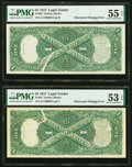 Obstructed Printing Errors Fr. 36 $1 1917 Legal Tenders Two Consecutive Examples PMG About Uncirculated 55 EPQ; About Un...