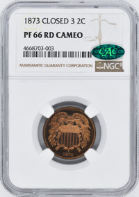 1873 CA Proof Two Cent Pieces NGC PR66 CAC Closed 3...(PCGS# 83653)