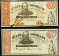 Obsoletes By State:Louisiana, Shreveport, LA- State of Louisiana $20 (2) Mar. 10, 1863 Issued and Remainder notes Cr. 13 Extremely Fine; Crisp Uncir... (Total: 2 notes)