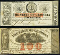 Obsoletes By State:Georgia, Milledgeville, GA- State of Georgia $50; $100 1863-64 Cr. 7; Cr. 21 Crisp Uncirculated; Fine.. ... (Total: 2 notes)