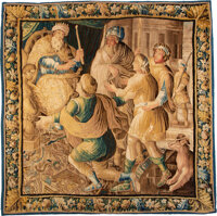 A Flemish Wool Tapestry, 18th century 99 x 97 inches (251.5 x 246.4 cm)  Property from the Collection of