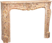 A French Louis XV-Style Breche d-Alep Marble Fireplace Mantel, late 19th century 43-1/2 x 56 x 15-1/2 inches (110