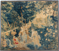 A Flemish Wool Verdure Tapestry, 18th century 95-1/2 x 110 inches (242.6 x 279.4 cm)  Property from a Pacific Northwest...