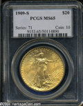 Saint-Gaudens Double Eagles: , 1909-S MS65 PCGS. ...