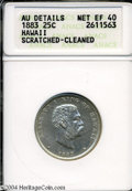 Coins of Hawaii: , 1883 Hawaii Quarter XF40--Scratched, Cleaned-- ANACS. AU ...