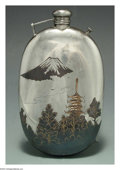 Silver Holloware, Continental:Holloware, A MIXED METAL JAPANESE FLASK