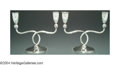 Silver Holloware, Continental:Holloware, A PAIR OF CONTINENTAL SILVER CANDELABRA