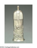 Silver Holloware, American:Other , AN ENGLISH VICTORIAN SILVER CASTER
