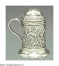 Silver Holloware, English:Holloware, AN ENGLISH VICTORIAN SILVER PEPPER CASTERMark of GG, ...