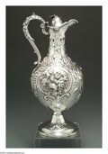 Silver Holloware, English:Holloware, AN ENGLISH VICTORIAN SILVER WINE EWER