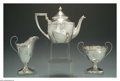 Silver Holloware, American:Tea Sets, AN AMERICAN SILVER ARTS AND CRAFTS TEA SET