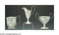 Silver & Vertu:Hollowware, A GROUP OF AMERICAN ARTS AND CRAFTS SILVER. Marked Shreve & Co., San Francisco, c.1915. A creamer and sugar in the 14th Ce... (Total: 3 Item)