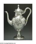 Silver Holloware, American:Coffee Pots, AN AMERICAN SILVER HANDWROUGHT COFFEE POT