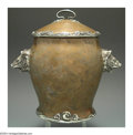 Silver Holloware, American:Mixed Metal, AN AMERICAN SILVER-APPLIED COPPER COVERED URN