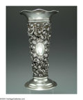 Silver Holloware, American:Tea Caddies, AN AMERICAN SILVER STRAWBERRY MOTIF VASE