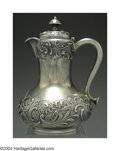 Silver Holloware, American:Tea Pots, AN AMERICAN SILVER SYRUP PITCHER