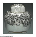 Silver Holloware, American:Tea Caddies, AN AMERICAN SILVER CHRYSANTHEMUM TEA CADDY