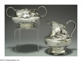 Silver Holloware, American:Creamers and Sugars, AN AMERICAN SILVER FLORA PATTERN CREAMER AND SUGAR BOWL