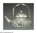 Silver Holloware, American:Tea Pots, AN AMERICAN SILVER FLORAL MOTIF TEA POT