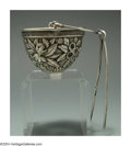 Silver & Vertu:Hollowware, AN AMERICAN SILVER FLORAL MOTIF TEA STRAINER. Mark of S. Kirk & Son, Baltimore, Maryland, c.1890. The dome form strainer w...