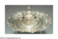 Silver Holloware, American:Desk Accessories, AN AMERICAN SILVER REPOUSSE INK WELL
