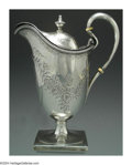 Silver Holloware, American:Coin Silver, AN AMERICAN SILVER COVERED PITCHER