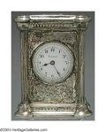 Silver Holloware, American:Clocks, AN AMERICAN SILVER DESK CLOCK