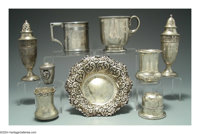 A GROUP OF NINE PIECES STERLING HOLLOWARE Various makers  The lot consisting of two cups, one Gorham, one William Gale...