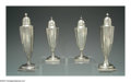 Silver Holloware, American:Other , FOUR AMERICAN SILVER SALT AND PEPPER SHAKERS
