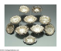Silver Smalls:Other , SEVENTEEN AMERICAN SILVER FLORAL NUT DISHES