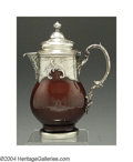 Silver Smalls:Other , A FRENCH SILVER MOUNTED MAJOLICA CHOCOLATE POT