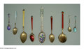 Silver Flatware, Continental:Flatware, AN ASSORTED GROUP OF TWENTY-TWO ENAMEL SPOONS
