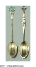 Silver Flatware, American:Gorham, A GROUP OF FOURTEEN GILT AND FLORAL ENAMELLED DEMITASSE ... (14 )