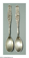 Silver & Vertu:Flatware, A PAIR OF AMERICAN SILVER VINE PATTERN EGG SPOONS. Mark of Tiffany, New York, c.1880. The curved handles with stippled gro... (Total: 2 Item)